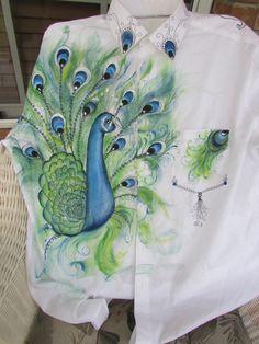 Peacock packet for shirt design an patterns.   Www.onestroke.com