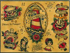 Flash by Johnny 2 Thirds Tattoo Artwork Designs Canvas Fine Art Print