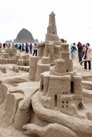 Sandcastle competition at the Oregon Coast.