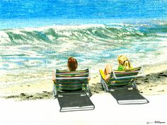 """On Manasota Key"" Watercolor and colored pencil by RHChipman on ETSY.com Notquitebrimfield."