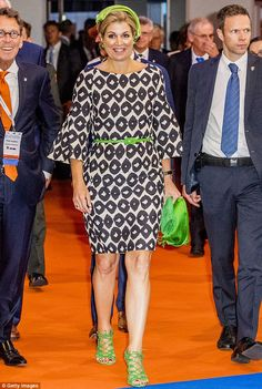 26 June 2017 - Queen Maxima opens EAN2017 Congress in Amsterdam - dress and sandals by Natan