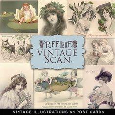 ~ Freebies - Vintage Post Cards Kit ~