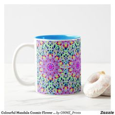 Shop Colourful Mandala Cosmic Flower Rays Two-Tone Coffee Mug created by ONME_Prints. Tea Mugs, Coffee Mugs, Flower Mandala, Mandala Coloring, Flower Of Life, Cosmic, Special Gifts, Create Your Own, Make It Yourself