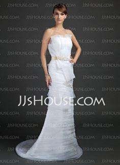 Vestidos de noiva - $228.99 - Tubo/ Coluna Decote recortado Cauda vassoura Organza Cetim Vestidos de noiva com Renda Cintos (002015361) http://jjshouse.com/pt/Tubo-Coluna-Decote-Recortado-Cauda-Vassoura-Organza-Cetim-Vestidos-De-Noiva-Com-Renda-Cintos-002015361-g15361
