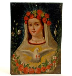 """his century Mexican folk retablo represents """"La Alma de Maria"""" or """"The Soul of Mary."""" Although used less frequently, the alternate title is 'La Virgen de la Paloma', or 'The Virgin of the Dove'. Colonial Art, Spanish Colonial, Religious Icons, Religious Art, St Rose Of Lima, White Doves, Naive Art, Blessed Mother, Mother Mary"""