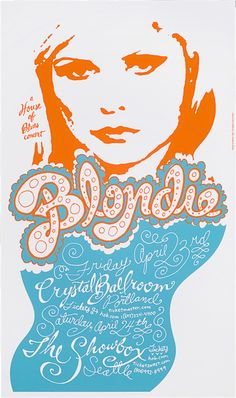 Blondie Gig Poster by Modern Dog. Unexpected approach plays against the usual punk and new wave imagery, yet still captures their spirit.