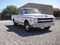 The all white with chrome trim is just so classy. And check out those wheels. (1969 Chevrolet C10)