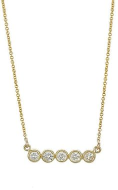 A tiny gold bar necklace with five bezel set crystals hanging from a gold plated cable chain. Dainty, delicate, and minimal, this necklace is perfect for layering and wearing every day! Gold plated me Gold Bar Necklace, Pendant Necklace, Necklace Chain Lengths, Jennifer Meyer, Station Necklace, Necklace Designs, Designing Women, Jewels, Diamond