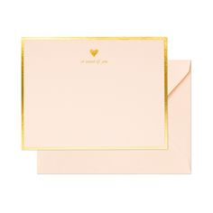 """For the sweeter soul - thank you notes with gold foil and sweet raspberry paper and """"so sweet of you"""" with a gold heart. Sugar Paper letterpress."""