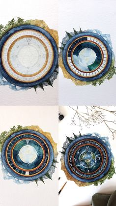 Finished space compass watercolour process photos step by step tutorial Landscape Drawings, Watercolor Landscape, Watercolor Flowers, Watercolor Paintings, Art Drawings, Greek Paintings, Mini Paintings, Galaxy Painting, Watercolor Galaxy