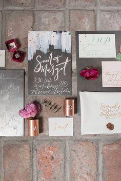 modern wedding invitations - photo by Marisa Belle Photography http://ruffledblog.com/fuchsia-industrial-wedding-inspiration