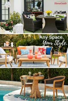 Decorate your outdoor living spaces this spring no matter what your style is.  Add an element of color (we opted for green) to a classic black and white palette, jazz up your favorite sitting area with bright decorative pieces and pillows, or create your own poolside dining area with neutral and organic elements.  Whatever your space, there's always an opportunity to make it feel like you.