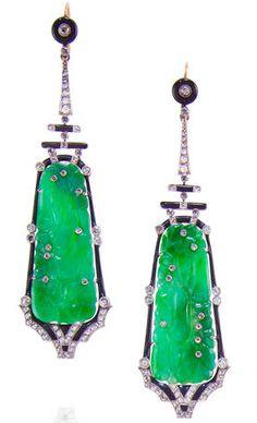 Jade, enamel and diamond pendant earrings - Bonham's  I have a weakness for green.  Lovely earrings.