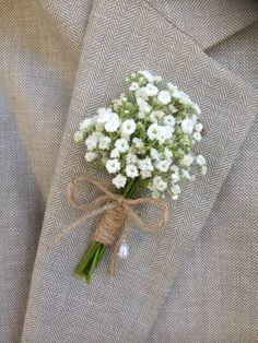 When ordering PLEASE let us know your Event day in (note to seller ) as We schedule shipment 3 to 7 days prior to the event Priority mail 1 to 3 day delivery to prevent fragility,storage and insure maximum presentation of the flowers .  This wedding boutonniere is available fresh or preserved. The last photo is a picture of the dry preserved boutonnière Made from Baby,s Breath flowers and wrapped in natural twine .One pearl topped lapel pin conclude the finishing touch.  When ordering…