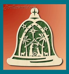 Scroll Saw Patterns :: Holidays :: Christmas :: Plaques & other projects :: Nativity bell #2 -