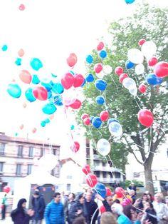 Lâcher de ballons pour l'inauguration du parc de l'Île au cointre. Par Jonathan Kienzlen.
