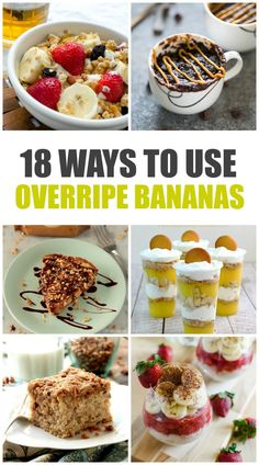 When your bananas are too ripe to eat, here are 18 recipes beyond banana bread that you can make! These recipes are delicious and can help reduce the amount of food you waste! Sweet Desserts, Easy Desserts, Sweet Recipes, Dessert Recipes, Healthy Desserts, Snack Recipes, Splenda Recipes, Low Carb Recipes, Bread Recipes