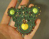 Green soutache necklace