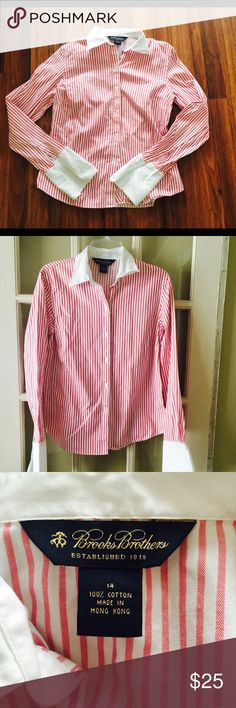 "Brooks Brothers Striped top 14 Gorgeous Brooks Brother striped top sz 14. Made with 100% cotton. Bust-22"" across Length-26"" Brooks Brothers Tops Blouses"