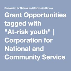 """Grant Opportunities tagged with """"At-risk youth"""" 