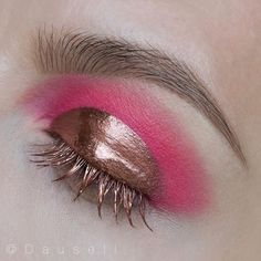 Rose gold and pink eye make up