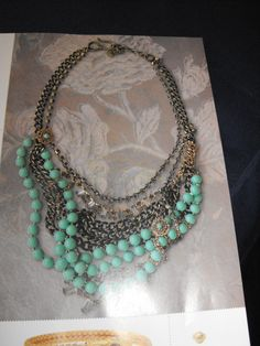 Metal chain and Blue beaded necklace