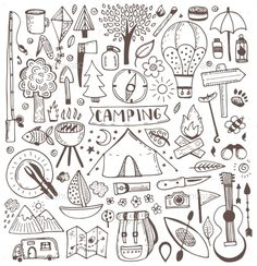 Camping Drawing, Doodles, Photography Tours, Cat Quotes, Bullet Journal Ideas Pages, Doodle Art, Doodle Pages, Camping Hacks, Trip Planning