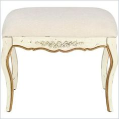"Safavieh Diane Fir Wood Hand-painted Bench in White - This Safavieh Diane bench features Fir wood construction and a rustic, hand-painted white finish with gold trim. This bench also features off-white chenille upholstery.  Features: Product Material: Fir wood construction Product Color: White Finish: Rustic hand-painted white finish with gold trim  Specifications: Overall Product Dimensions: 18""H x 21""W x 13.3""D"