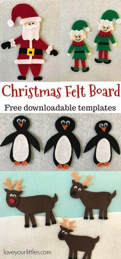Children can creatively play with this Christmas felt board all holiday season long! Free downloadable templates available.