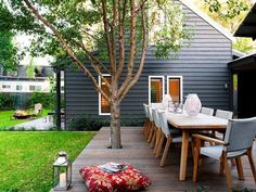 enclosed courtyard design with a central entertaining deck