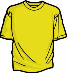 PublicDomainVectors.org-Vector illustration of a t-shirt. Color drawing of a yellow tee. Image of a short sleeved shirt.