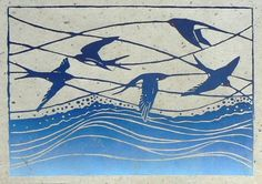 Swallows are so incredible to watch as they feed on the wing. Their pattern as they fly, the swooping, echoes the waves of the sea, which seemed like the right environment, as its often on holiday I see them performing their acrobatics on the waters edge.  The lino cut is hand printed onto hand made hemp paper, and measures 32 x 24 cm. It is signed.