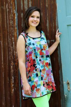 You Should Have Seen It In Color Tunic Mix and match our Water-color Print Rose Tunic with any of our bright colored short leggings for a great summer look!