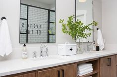 """In a 'Fixer Upper' episode titled """"All American Farmhouse"""", Chip and Joanna Gaines help a wounded war veteran and his girlfriend turn an odd conglomeration of house-and-barn into a stunning country retreat. Joanna Gaines, Fixer Upper Joanna, Master Bedroom Bathroom, Master Bedrooms, Master Baths, Basement Bathroom, American Farmhouse, American Country, Ideas Hogar"""