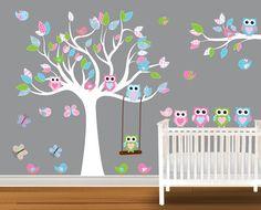 Nursery Wall Decal Stickers Children Wall Decal Owl wall decal Birds butterflies