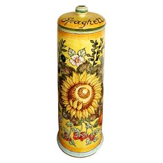 CERAMICHE D'ARTE PARRINI - Italian Ceramic Pasta Spaghetti Canister Jar Pottery Hand Painted Made in ITALY Tuscan. Italian Ceramic Jar for pasta spaghetti. (Cap with airtight).Decoration: Sunflowers , corn , olives and fruit on a yellow background(spaghetti written , airtight lid with rubber gasket).- Dimensions: (14,17 inch) x (5,11 inch) - All our products are lead-free and can be used for foods, can go in the dishwasher and in the microwave-You can ask any other customization, buy...