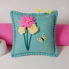 Wool Felt Pincushion - Pink Daisy, Yellow Roses & Butterfly on Baby Blue | Flickr - Photo Sharing!