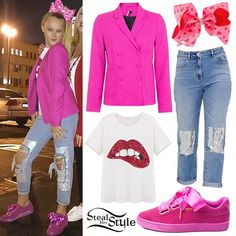 JoJo Siwa attended the Nickelodeon's Not So Valentine's Special wearing the Topshop Tailored Suit Jacket Blazer in Bright Pink ($37.41), a tee like this SheIn Sequined Lip Print T-Shirt ($13.00), jeans similar to the PacSun Donna Blue Sequined Patch & Repair Mom Jeans ($69.95), Puma Suede Heart Athletic Shoes in Fuchsia ($79.99), and the Claire's Pink Valentine's Day Signature Hair Bow ($16.99) from her own signature collection.