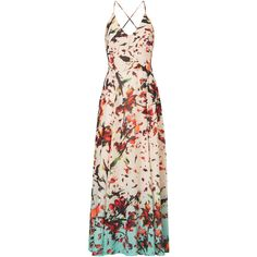 Rental Rachel Rachel Roy Crinkle Chiffon Floral Dress ($30) ❤ liked on Polyvore featuring dresses, pink sleeveless dress, sleeveless maxi dress, v-neck dresses, sleeveless floral dress and v neck dress