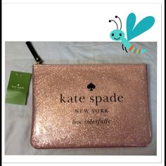 HOST PICKHOLIDAY DRIVE GIA IN SPARKLE ROSE GOLD, CAN BE USED AS A TABLET CASE , OR A CLUTCH...MEASURES 7.2  X 10.1 W X D, IP TOP CLOSURE, ,JACQUARD LINING , SPARKLE PATENT PVC , 14-KARAT LIGHT GOLD PLATED HARDWARE ...NWT STYLE OBSESSIONS HOST PICK 1-16-2016 kate spade Bags Clutches & Wristlets