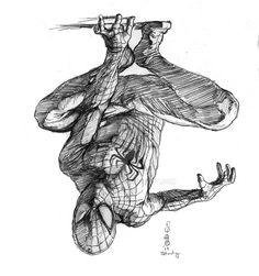 Spider-Man sketch by Eric Meador Spiderman Sketches, Spiderman Drawing, Marvel Drawings, Spiderman Art, Amazing Spiderman, Cartoon Drawings, Comic Book Drawing, Comic Books Art, Comic Art