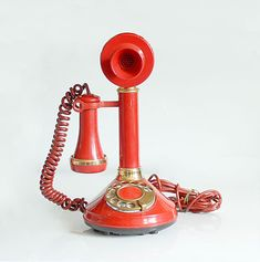 Vintage 70's Red Gold Candlestick Telephone Phone Rotary Dial Deco-Tel.