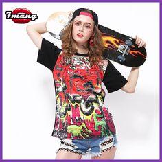 7mang 2017 summer women fashion street graff print t shirt party short sleeve black loose t shirt
