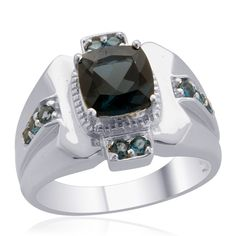 Liquidation Channel | London Blue Topaz Men's Ring in Sterling Silver (Nickel Free)