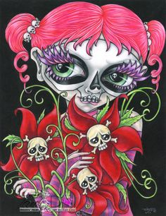 """Inamorata, Keeper of the Dead Flowers"" Copyright 20013 TanDoll. #coloredpencil #art #TanDoll #artwork #drawing #DayOfTheDead #skulls #flowers #jollyroger #punk #goth #pink #mardigras #bigeye #bigeyeart #whimsical #artist #illustration #lowbrow #kitsch #fantasy"