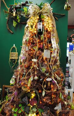 Wine themed Christmas tree at the Santa Claus Christmas Store.