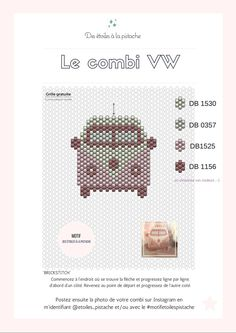 COMBI VW grid or how to escape as best you can! Bead Embroidery Patterns, Peyote Patterns, Embroidery Jewelry, Beaded Embroidery, Beading Patterns, Mosaic Patterns, Bracelet Patterns, Knitting Patterns, Seed Bead Tutorials