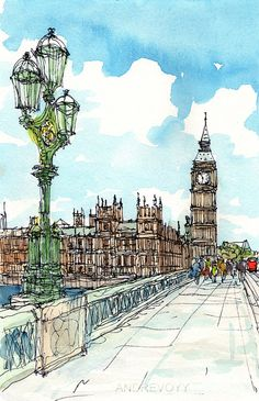 London Westminster art print from an original watercolor painting London Sketch, London Drawing, Watercolor Sketch, Watercolor Illustration, Watercolor Paintings, Westminster, City Sketch, City Drawing, Urban Sketchers