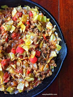 Skillet unstuffed cabbage rolls combines all the low carb goodness of traditional cabbage rolls with less fuss! Serve over rice for a family friendly meal. Diabetic Recipes, Beef Recipes, Low Carb Recipes, Cooking Recipes, Healthy Recipes, Recipies, Diabetic Foods, Diabetic Desserts, Skillet Recipes