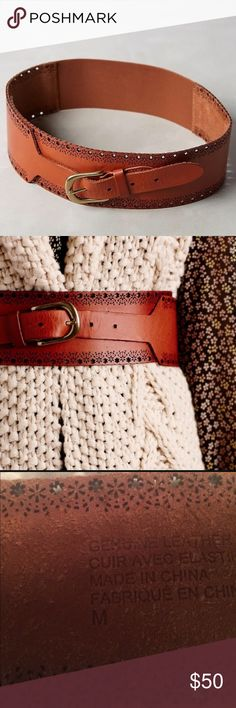 """Sunland corset belt nwot size M Leather, elastic, brass Imported Style No. 37116175 Dimensions M: 32""""L Anthropologie Accessories Belts"""